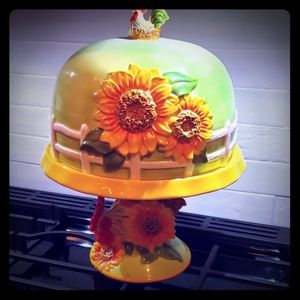 Whimsical roaster & sunflower cake stand w/ dome